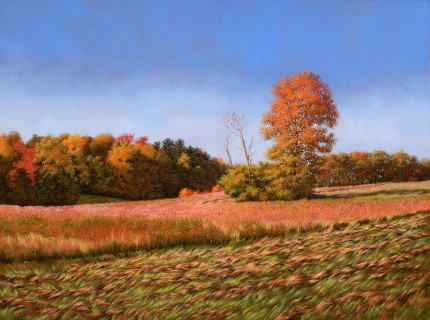 """Autumn Morning at Poet's Walk"" 2009, Oil on linen, 30 x 40 inches, Signed and dated lower left: Carolyn H Edlund 2009"