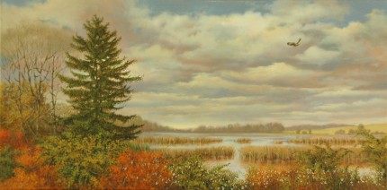 """Bangall-Amenia Marsh"" 2008, Oil on canvas, 15 x 30 inches, Signed and dated lower left: Carolyn H Edlund 2008"