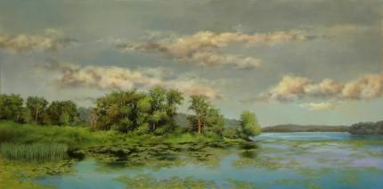 """Bontecou Lake"" 2013, Oil on panel, 12 x 24 inches, Signed lower left: Carolyn H Edlund"