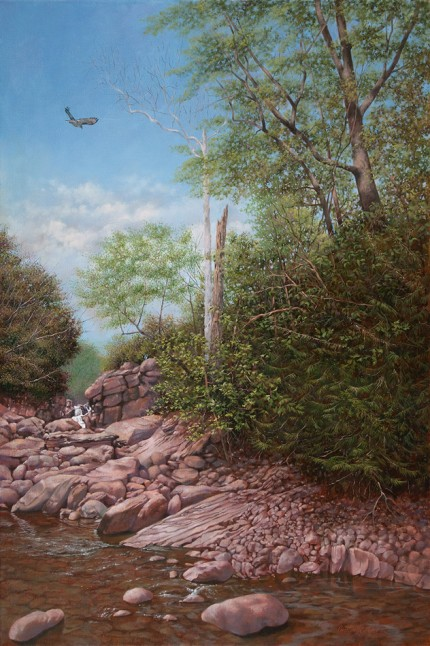 """Fawn's Leap, Kaaterskill Creek"" 2012, Oil on linen, 36 x 24 inches, Signed lower right: Carolyn H Edlund"