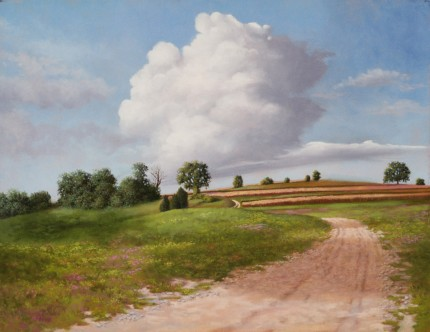 """Field Stripes II"" 2006, Oil on linen, 14 x 18 inches, Signed and dated lower left: C Hutchings Edlund 2006"