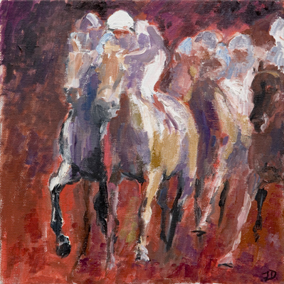 Flat Racing, oil canvas, 20 x 20 inches