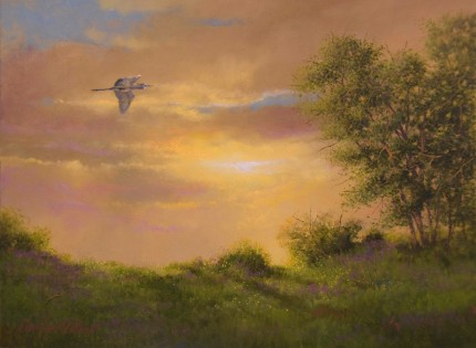 """Great Blue Passing"" 2012, Oil on panel, 9 x 12 inches, Signed lower left: Carolyn H Edlund"
