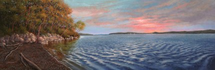 """Hudson River from Black Creek"" 2012, Oil on cradled clayboard, 12 x 36 inches, Signed lower right: Carolyn H Edlund"