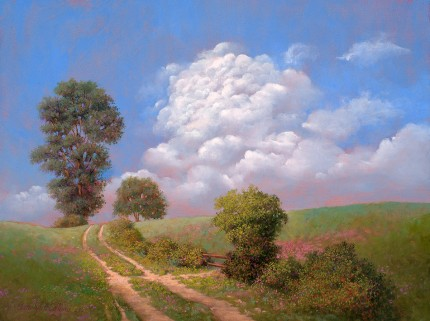 """Kissed by the Light (Tower Hill Rd)"" 2007, Oil on panel, 9 x 12 inches, Signed and dated lower left: Carolyn H Edlund 2007"
