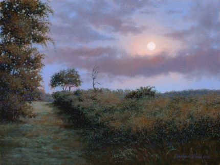"""Meditation by Moonlight"" 2009, Oil on canvas, 12 x 16 inches, Signed and dated lower right: Carolyn H Edlund 2009"