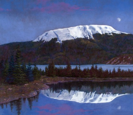 """Moonlight Serenade in the Tongass National Forest (Alaska)"" 2007, Oil on canvas, 26 x 30 inches, Signed and dated lower left: Carolyn H Edlund 2007"