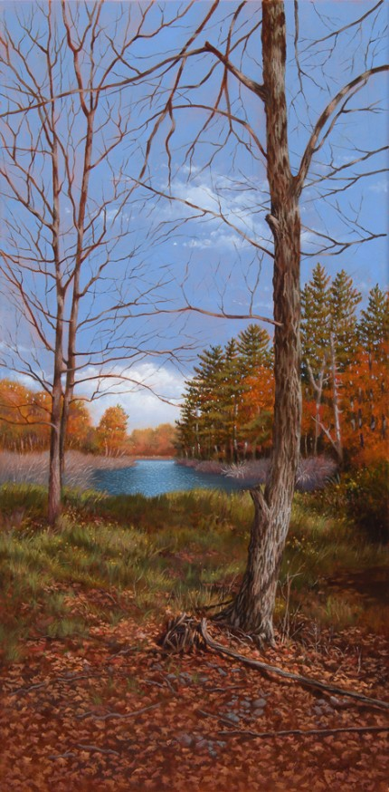 """Palenville Beaver Pond"" 2010, Oil on canvas, 12 x 24 inches, Signed and dated lower right: Carolyn H Edlund 2010"