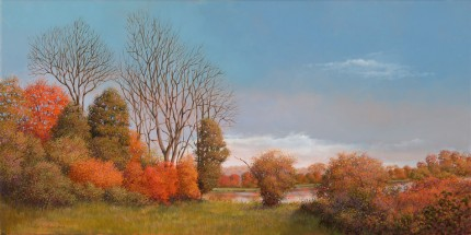 """Pond at Wethersfield"" 2008, Oil on canvas, 15 x 30 inches, Signed and dated lower left: Carolyn H Edlund 2008"