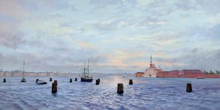 """""""San Giorgio Maggirore"""" Oil on fine Belgian linen, 24 x 48 inches"""