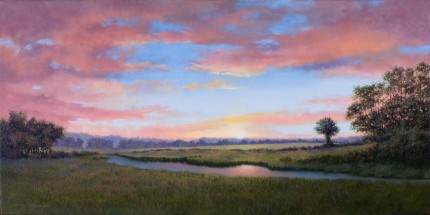 """Turning Quietly Into Night"" 2009, Oil on canvas, 15 x 30 inches, Signed and dated lower left: Carolyn H Edlund 2009"