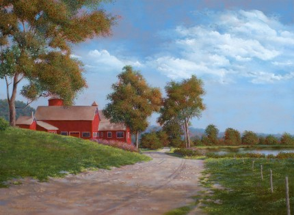 """Wethersfield Barns, Pugsley Hill Rd"" 2007, Oil on canvas, 18 x 24 inches, Signed and dated lower left: Carolyn H Edlund 2007"