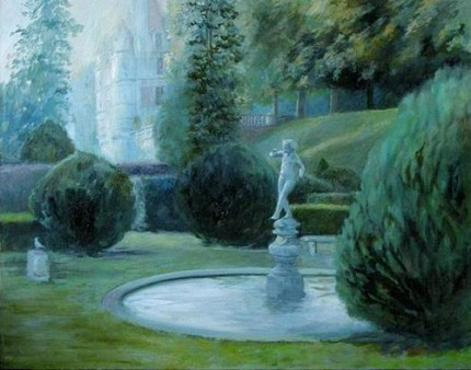 Chateau Garden at Twilight, oil on canvas, 31 x 39 inches, signed