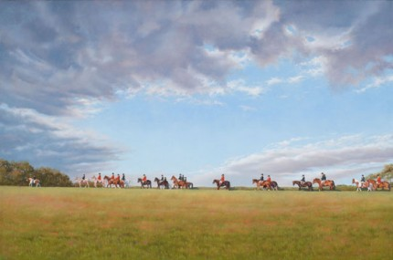 """Opening Meet"" 2008, Oil on linen, 24 x 36 inches, Signed"