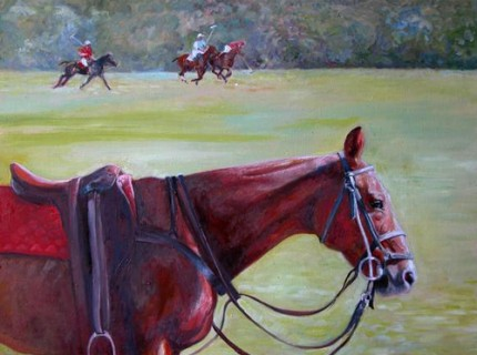 Polo Field, oil on board, 18 x 24 inches, signed