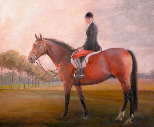 The Late Mrs. Victoria Fitch, Master of the Fox River Valley Fox Hounds, oil on canvas, 20 x 24 inches