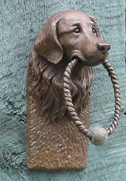 """Golden Retriever Door Knocker"" Bronze, 8 x 4 inches"