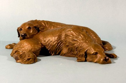 """Golden Slumbers"" Bronze, Edition 1/15, 12 x 12 x 3 inches"
