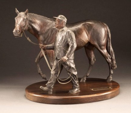 """Nashua (1952-1982)"" With Clem Brooks (his faithful groom) Bronze, Edition: 19/75, 12 x 14 inches, 29 lbs, Signed & Numbered"