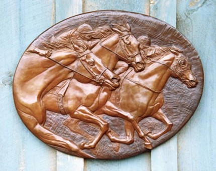 """Racing Plaque"" Bronze, 16 x 21 inches, Signed"
