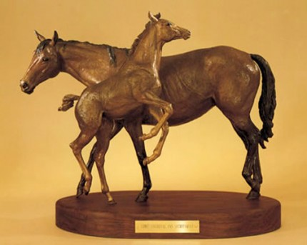 """Secretariat and Somethingroyal"" Bronze, 13 x 18 inches, Signed"