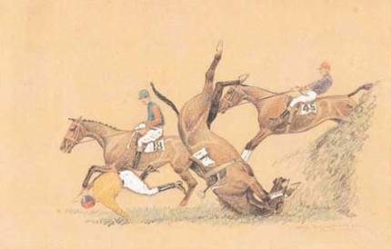 """Springs Tumble - Aintree"" Color pencil and white heightening, 10 x 14 ½ inches, Signed, Inscribed and dated 1928"