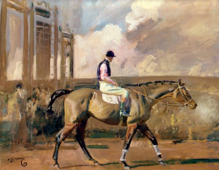 """After the Race, Cheltenham"" Oil on panel, 16 x 20 inches, Signed lower left, Provenance: Private Collection, England, Property of a Titled Gentleman, 1996"