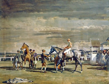 """""""After the Race"""" Original print, Published by Frost & Reed, 1951, 21 x 26 inches, Glazed frame"""