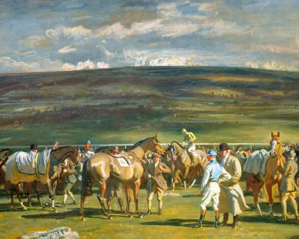 """Cheltenham, The Saddling Paddock, March Meeting"" Original print, Published by Frost & Reed, 1952, 22 x 30 inches"