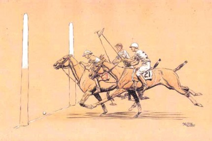 """Goal Kenny - 6th Period, 2nd Game"" International Polo Argentina vs USA (Copa de las Americas) in 1928, Watercolour, 11 x 17 inches, Inscribed, Signed & Dated, Paul Brown '28, lower right"