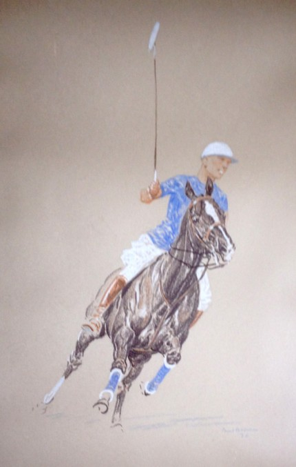 """Polo Player in Blue"" Mixed media, 16 x 9 inches, Framed: 22 x 15 inches, Signed, Dated: 1930, Lower right"