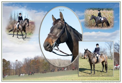 """Ella and Story Time"" A set of portraits for Mr. & Mrs. William F. Henze II's home in Aiken. Inspired by English hunt prints. The second set of portraits that I've produced for these wonderful clients. Their now retired horses, Pierre and Henry, have portraits are hanging in their home in Millbrook. In all of the pictures I combined landscape hunt images taken on their property during a meet, formal portraits or each horse and action photos hunting."