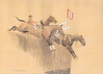 """Loose Ones at Breechers - Aintree"" Color pencil and white heightening, 10 x 14 ½ inches, Signed, Inscribed and dated 1928"