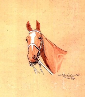 """Mr. A.J. Kenny's Buena Mosa"" International Polo Argentina vs USA (Copa de las Americas) in 1928, Watercolour, 8.5 x 8 inches, Inscribed, Signed & Dated, Paul Brown '28, lower right"