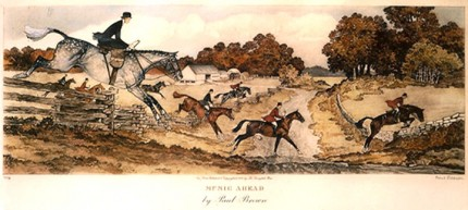 """Music Ahead"" American Fox Hunting Scenes, The Derrydale Press, New York, 1937, Plate size: 17 ⅞ x 21 ¾ inches, Paper size: 22 ⅞ x 31 inches, with generous margins, Hand made Paper with deckle edges, Limited to 250 numbered and signed prints. SET #1 Belonged to Eugene Connett, President, Derrydale Press. Even though the set was advertised as being produced in an edition of 250, most collectors and dealers in sporting art believe that there were many fewer actually produced. Uncut and unframed. Mint condition.  FLAWLESS, NOT ANOTHER SET LIKE IT IN THE WORLD  Provenance: The Sporting Gallery and Bookshop, Inc, New York"