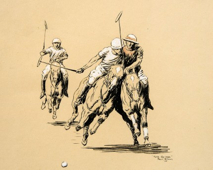 """Take the Man"" International Polo Argentina vs. USA (Copa de las Americas) in 1928, Color pencil on paper, heightened with white, 8.5 x 10 inches, Inscribed, Signed & Dated, Paul Brown '28, lower right"
