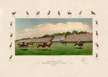 """International Field Meadow Brook Club 1939"" Original Hand Coloured Lithograph - Artist's proof, 22 x 31 inches, Titled with pencil remarque, Signed and dated in pencil. New York, Published & Copyrighted 1939, by Robert Strawbridge Jr. Ultra rare + Scarce"