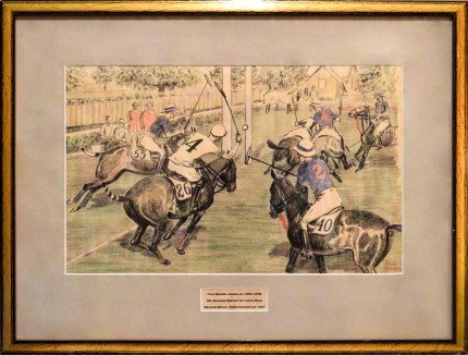 """Mr. Milburn breaks the Lion's Back, Meadow Brook, Westchester Cup, 1927"" Chalk & Crayon on paper, 9 x 14.5 inches, 15.5 x 20.5 inches, Signed lower right 