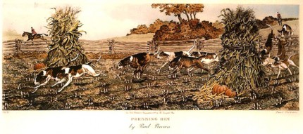 """Pressing Him"" American Fox Hunting Scenes, The Derrydale Press, New York, 1937, Plate size: 17 ⅞ x 21 ¾ inches, Paper size: 22 ⅞ x 31 inches, with generous margins, Hand made Paper with deckle edges, Limited to 250 numbered and signed prints. SET #1 Belonged to Eugene Connett, President, Derrydale Press. Even though the set was advertised as being produced in an edition of 250, most collectors and dealers in sporting art believe that there were many fewer actually produced. Uncut and unframed. Mint condition.  FLAWLESS, NOT ANOTHER SET LIKE IT IN THE WORLD  Provenance: The Sporting Gallery and Bookshop, Inc, New York"
