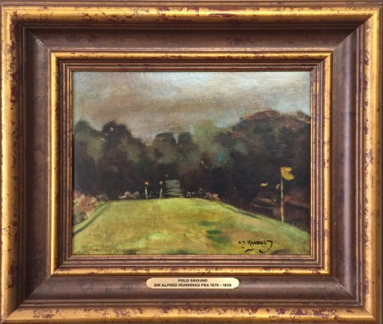 """""""Polo Ground"""" Oil on panel, 9 x 11 inches, 14 x 16 inches, Signed lower right"""