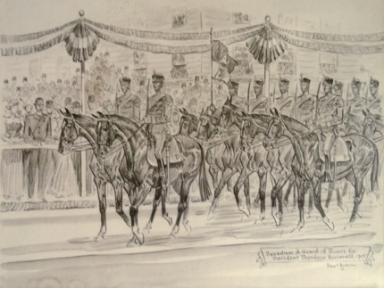 """Squadron A Guard of Honor for President Theodore Roosevelt, 1905"" Graphite on paper, 9 x 12 ½ inches, Signed, Inscribed, Dated 1947, Lower right"