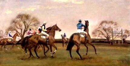 """Steeplechase Start"" Oil on Panel, 11.5 x 21.5 inches. Signed, bottom right. Provenance: Private Collection England"