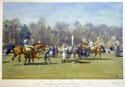"""The Paddock at Epsom, Spring Meeting"" Original pencil signed print, 16 x 21 inches, Published by Frost & Reed c.1932"