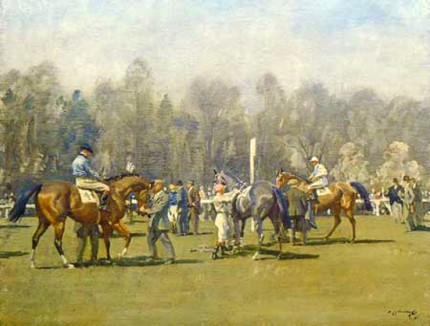 """The Paddock at Epsom, Spring Meeting"" Original titled print, 20 x 28 inches, Published by Frost & Reed c.1932"