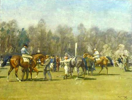 """The Paddock at Epsom, Spring Meeting"" Original pencil signed & FATG stamped print, 20 x 25 inches, Published by Frost & Reed c.1952"