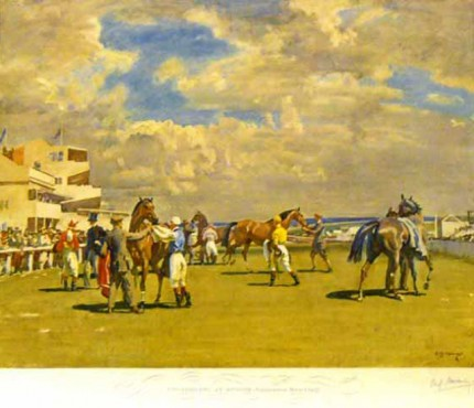 """Unsaddling at Epsom, Summer Meeting"" Original FATG stamped print, 20 x 25 inches, Published by Frost & Reed c.1952"