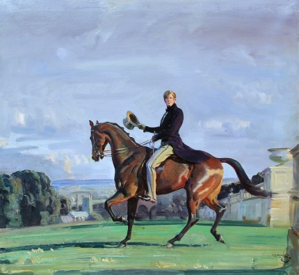 """Portrait of a Gentleman on a Bay Horse in a Park with a Church beyond"" Oil on canvas, Signed 'A.J. Munnings' 28 x 30 inches (72.4 x 77.5 cm) Provenance: Mrs. Cynthia Cary, by 1935 and by descent to Guy Fairfax Cary JR"