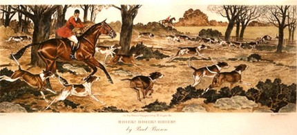 """Hoick! Hoick! Hoick!"" American Fox Hunting Scenes, The Derrydale Press, New York, 1937, Plate size: 17 ⅞ x 21 ¾ inches, Paper size: 22 ⅞ x 31 inches, with generous margins, Hand made Paper with deckle edges, Limited to 250 numbered and signed prints. SET #1 Belonged to Eugene Connett, President, Derrydale Press. Even though the set was advertised as being produced in an edition of 250, most collectors and dealers in sporting art believe that there were many fewer actually produced. Uncut and unframed. Mint condition.  FLAWLESS, NOT ANOTHER SET LIKE IT IN THE WORLD  Provenance: The Sporting Gallery and Bookshop, Inc, New York"