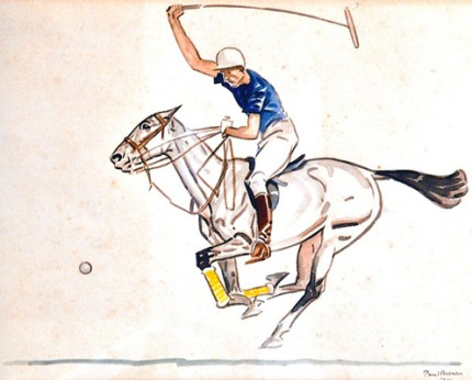 """Back Shot by Winston Guest"" Watercolour, 11 x 14 inches, Hogarth frame, Signed, Dated: 1938, Inscription on the back: ""Back shot by Winston Guest – ball was coming diagonally to him from his left front. Winston chipped and sent it on its way to the rear without it touching the ground."" Mint condition"