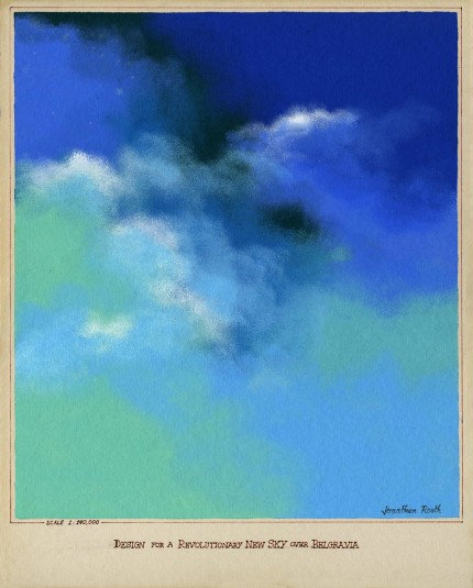 """Design For a Revolutionary New Sky Over Belgravia (Scale 1:140,000)"" Acrylic on paper, 20 x 16 inches, Signed & Inscribed 